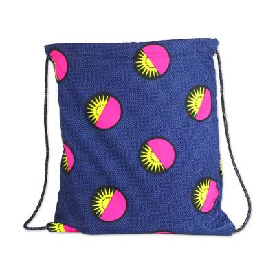 Blue Cotton Drawstring Backpack with Yellow and Pink Suns