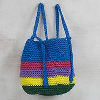 Crocheted backpack, 'Colorful Horizon' - Crocheted Colorful Backpack from Ghana