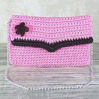 Crocheted shoulder bag or clutch, 'Flowering Carnation' - Crocheted Clutch in Carnation from Ghana