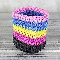 Crocheted pencil holder, 'Neon Rainbow' - Colorful Crocheted Pencil Holder from Ghana