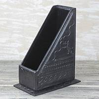 Leather book stand, 'Literary Sophistication' - Handmade Black Leather Book Stand from Ghana