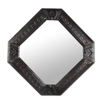 Leather wall mirror, 'Elegant Reflection' - Handcrafted Embossed Leather Wall Mirror from Ghana