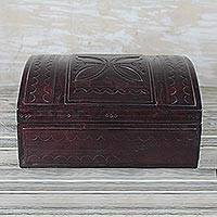 Leather jewelry box, 'Beautiful Tabun Bit' - Handcrafted Leather Jewelry Box from Ghana