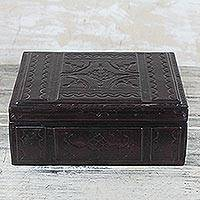 Leather jewelry box, 'Beautiful Takbat' - Embossed Leather Jewelry Box Handcrafted in Ghana