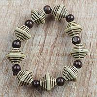 Wood and recycled plastic beaded stretch bracelet, 'Safari Style' - Sese Wood and Recycled Plastic Beaded Stretch Bracelet