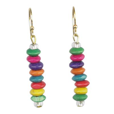 Wood beaded dangle earrings, 'Stacked Color' - Multi-Color Wood Disc Beaded Dangle Earrings from Ghana