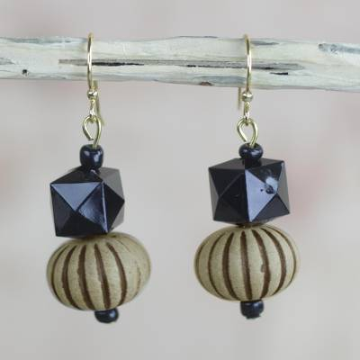 Wood and recycled plastic dangle earrings, Geometric Blooms