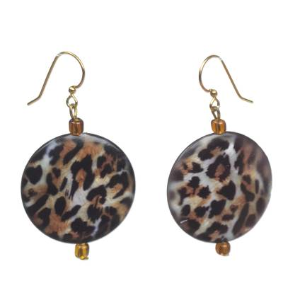 Recycled glass dangle earrings, 'Leopard Style' - Recycled Glass Leopard Motif Earrings from Ghana
