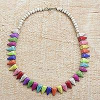 Beaded agate necklace, 'Rainbow Triangles' - Rainbow Pointed Agate and Sese Wood Beaded Necklace