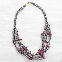 Recycled plastic and wood beaded necklace, 'God-Sent in Red' - Floral Recycled Plastic and Red Coconut Shell Necklace