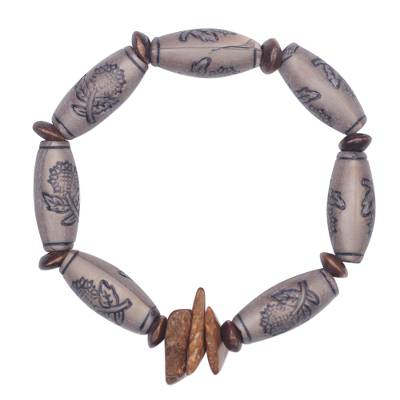 Sese wood and coconut shell beaded stretch bracelet,