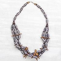 Wood and recycled plastic statement necklace, 'Beloved Mother' - Sese Wood and Recycled Plastic Beaded Statement Necklace
