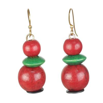 Red and Green Sese Wood and Recycled Plastic Earrings