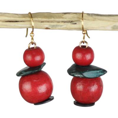 Sese wood and coconut shell dangle earrings,
