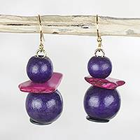 Wood and coconut shell beaded dangle earrings, 'Vineyard Delight' - Purple Sese Wood and Coconut Shell Stacked Dangle Earrings