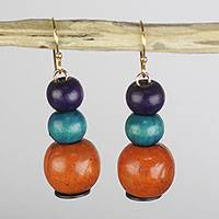 Wood and recycled plastic dangle earrings, 'Sweet Symphony' - Handmade Stacked Sese Wood Sweet Symphony Dangle Earrings
