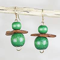 Wood and coconut shell beaded dangle earrings, 'Lush Grass' - Green Sese Wood and Coconut Shell Stacked Dangle Earrings