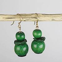 Wood and coconut shell dangle earrings, 'Green and Mighty' - Handcrafted Green and Mighty Sese Wood Dangle Earrings