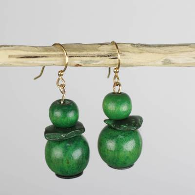 Wood and coconut shell dangle earrings, Green and Mighty