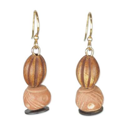 Ceramic and recycled plastic beaded dangle earrings,