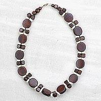 Wood beaded necklace, 'Guidance' - Brown and White Wood Beaded Necklace from Ghana