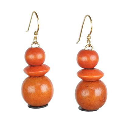 Wood beaded dangle earrings, 'Tropical Sunset' - Orange Sese Wood and Recycled Plastic Dangle Earrings