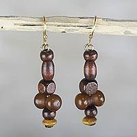 Wood and recycled plastic beaded dangle earrings, 'Boho Queen' - Recycled Plastic and Sese Wood Boho Queen Dangle Earrings