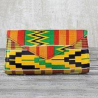 Cotton clutch, 'Kente Dreams' - Multi-Colored Kent Dreams Cotton Clutch with Interior Pocket