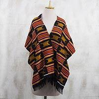 Cotton blend kente cloth shawl, 'Royal Victory' - Checkered Handwoven Ashanti Golden Throne Kente Shawl