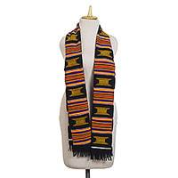 Cotton blend kente cloth scarf, 'Ohemaa' - Multi-Colored Handwoven Cotton Blend Kente Cloth Scarf