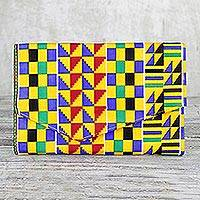 Cotton clutch, 'Kente Bliss' - Colorful Geometric Kente Bliss Cotton Clutch with Pocket