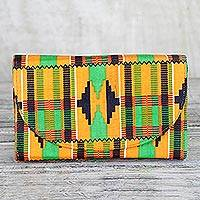 Cotton clutch, 'Adepa' - Multi-Colored Kente Print Cotton Clutch with Interior Pocket