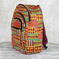 Cotton backpack, 'Ashanti Neon' - Colorful Ashanti Neon Cotton Backpack with Exterior Pockets