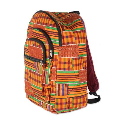 Colorful Ashanti Neon Cotton Backpack with Exterior Pockets