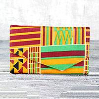 Cotton wallet, 'Electric Kente Dreams' - Electric Dreams Multi-Colored Geometric Cotton Wallet