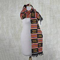 Cotton blend kente cloth scarf, 'Kente Throne' - Handwoven Striped Ashanti Golden Stool Kente Cloth Scarf