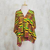Cotton blend kente cloth shawl, 'Kente Mood' - Colorful Handwoven Cotton Blend Kente Geometric Shawl