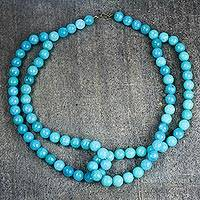 Agate beaded necklace, 'Aqua Mother' - Aqua Agate Beaded Necklace from Ghana