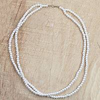 Recycled plastic beaded necklace, 'Lily White' - White Recycled Plastic Beaded Necklace from Ghana