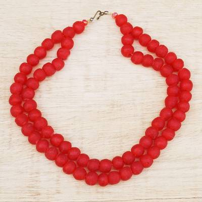 Recycled glass beaded necklace, 'Rosy Red' - Recycled Glass Beaded Necklace in Red from Ghana