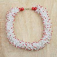 Recycled plastic beaded necklace, 'Red Coral' - Red and White Recycled Plastic Beaded Necklace from Ghana