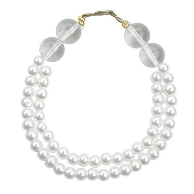 Love Glow White Recycled Glass Beaded Bracelet from Ghana