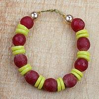 Recycled glass beaded bracelet, 'Frosty Berries' - Red and Yellow Striped Recycled Glass Beaded Bracelet