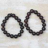 Recycled glass beaded stretch bracelets, 'Coffee Sensation' (pair) - Brown Recycled Glass Beaded Stretch Bracelets (Pair)