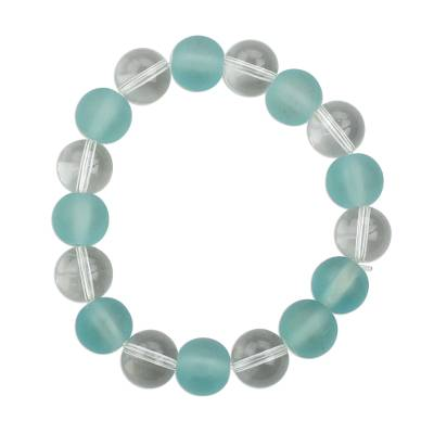 Handmade Aqua Blue and White Recycled Glass Beaded Stretch Bracelet