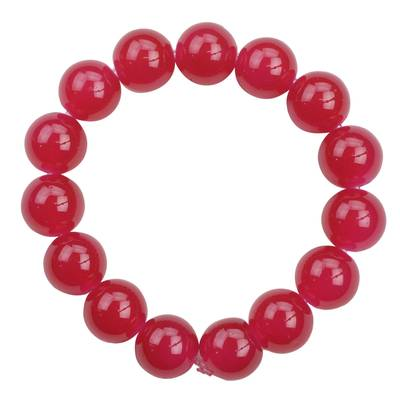 Fair Trade Bright Red Recycled Glass Chunky Beaded Bracelet