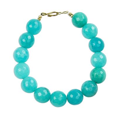 Blue Cyan Recycled Glass Beaded Bracelet from Ghana