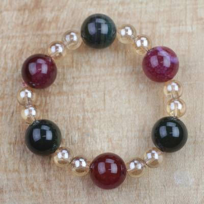 Recycled glass beaded stretch bracelet, 'Great Heart' - Multi-Colored Recycled Glass Beaded Stretch Bracelet