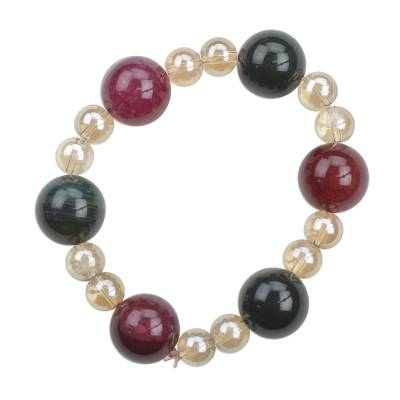 Multi-Colored Recycled Glass Beaded Stretch Bracelet