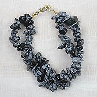 Agate beaded bracelet, 'Speckled Beauty' - Black and Grey Speckled Agate Double Layer Beaded Bracelet